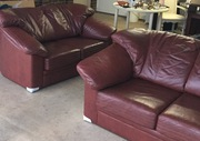 2 x 2 chocolate leather sofas